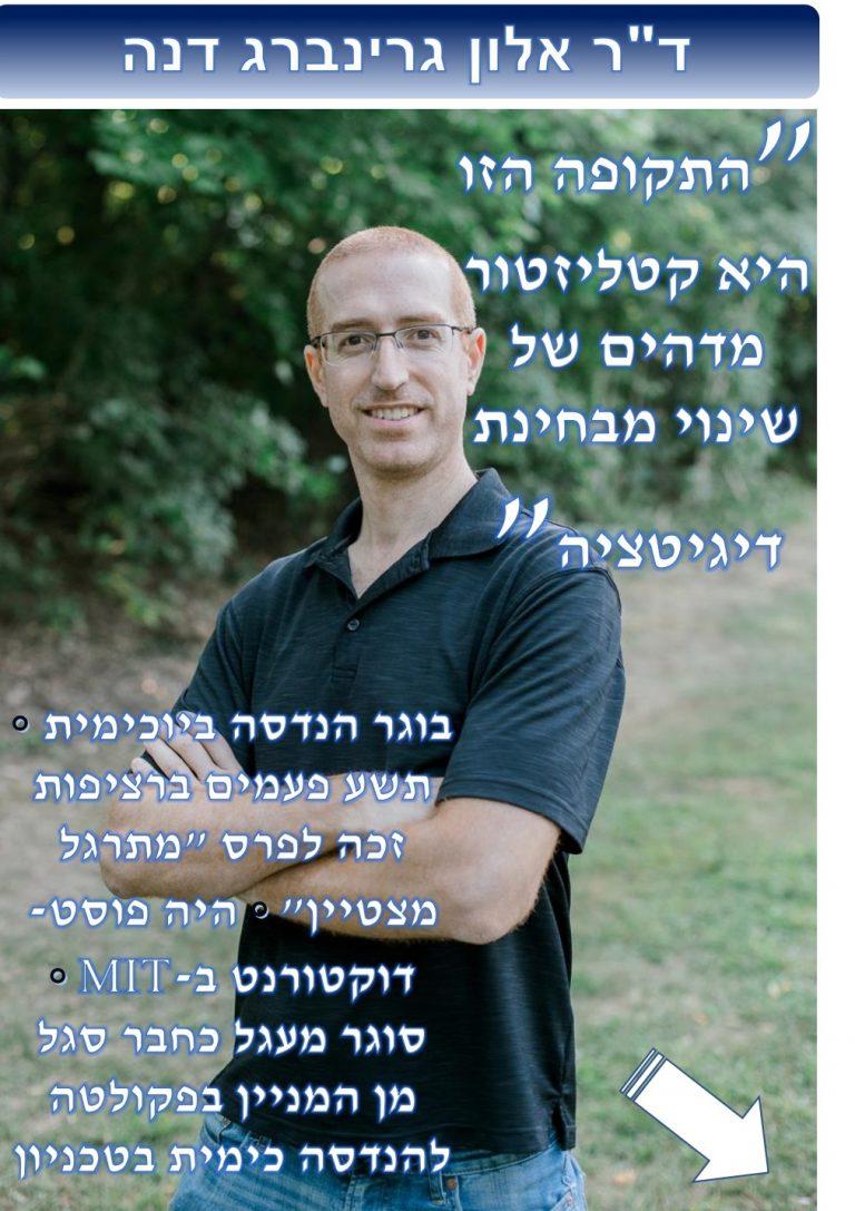 """פרופ' אלון גרינברג דנה, חבר סגל בפקולטה להנדסה כימית וביוכימית בטכניון, סיים בהצטיינות וזכה בפרס """"המתרגל המצטיין"""" 9 פעמים ברציפות"""