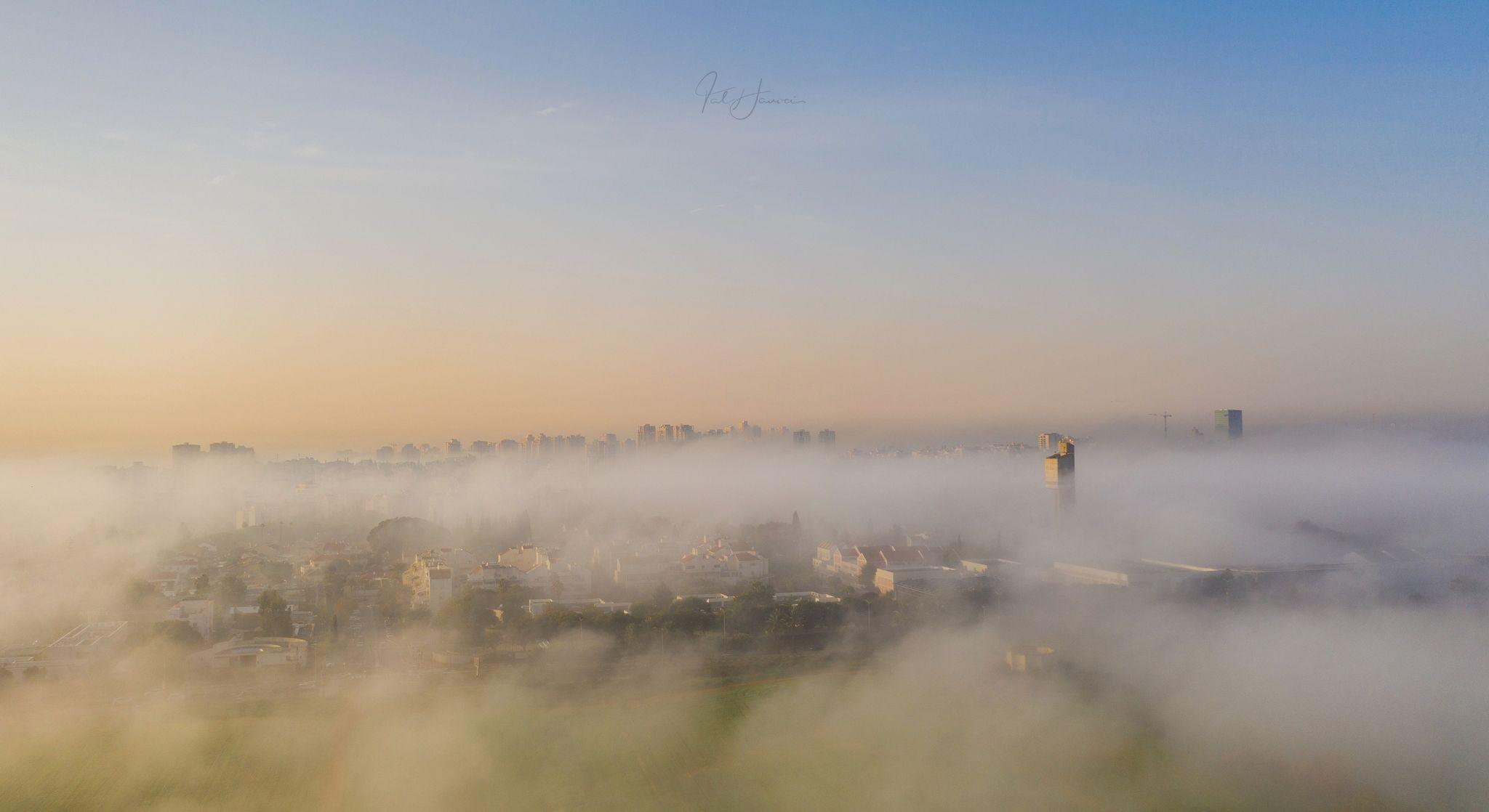 לא רואים ממטר בכפר סבא: הערפל כיסה את העיר, צפו בתמונות המרהיבות של טל חנוכי