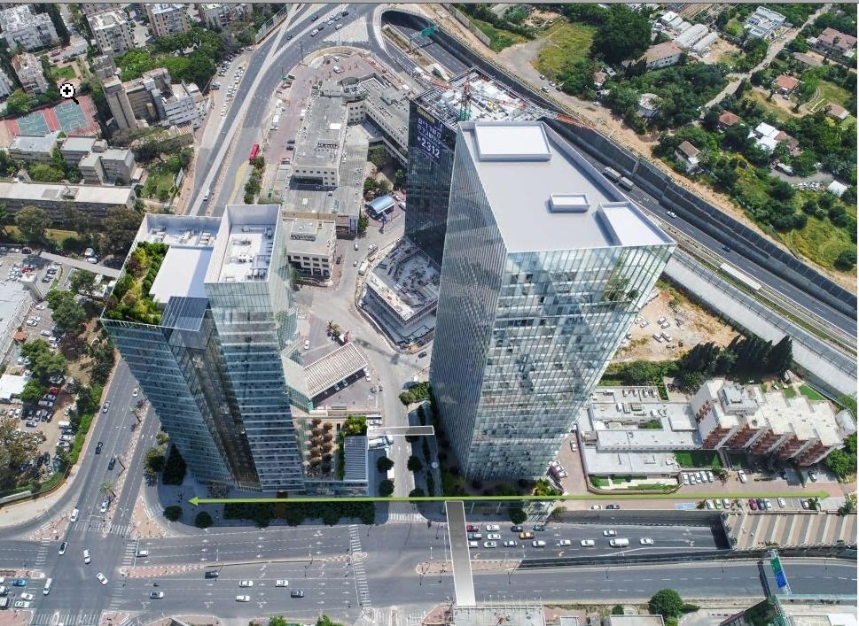 """תוכנית """"שער העיר"""", הומלצה להפקדה: מגדל עסקים, בשילוב מסחר ומגורים, כ-35 קומות באזור כפר סבא-רעננה, בסמוך למחלף רעננה דרום"""